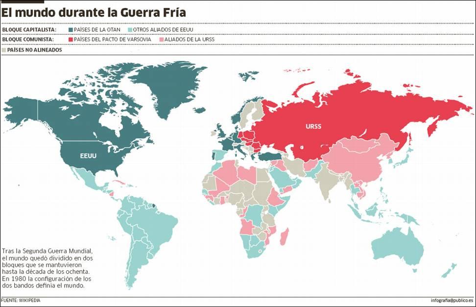 Resultado de imagen de mapa comunismo guerra fría