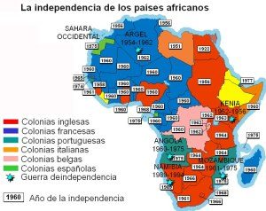 Descolonizacion de Africa mapa